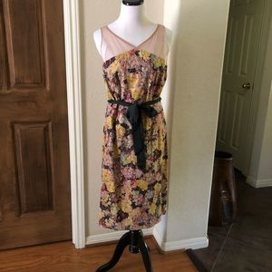 Anthro Floral Midi Dress Sheer Fitted Sheat Med